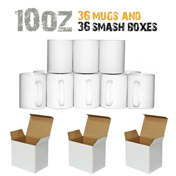 36 10oz Mugs and Smash boxes