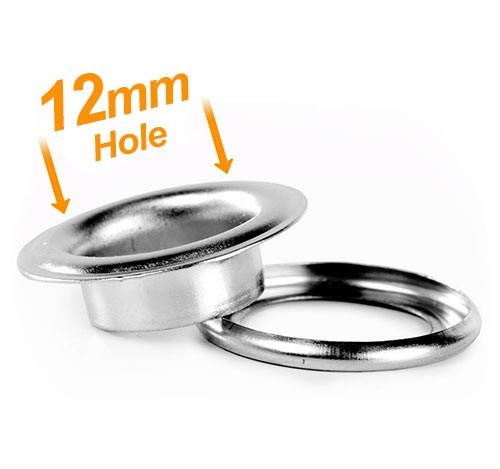 12mm Banner Eyelets Chrome Pack 500