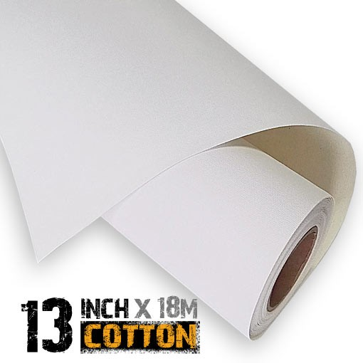 13 inch Inkjet 100% Cotton Canvas Roll 18m - 340gsm