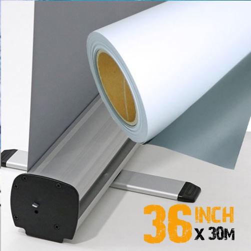 """36"""" Inkjet Roller Banner Film - Frontlit Grey Back P.E.T 135mic"""