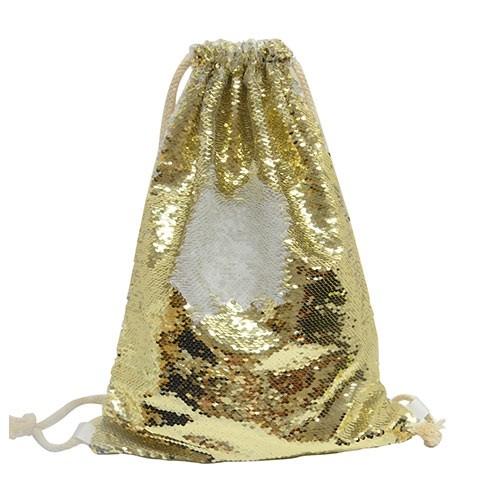 Gold Sequin Drawstring Bag