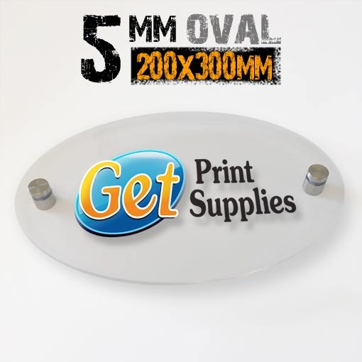 Oval 5mm Acrylic Panel 200x300 with Standoffs