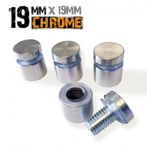 Single Standoff Fixing - Polished Chrome 19 x 15mm