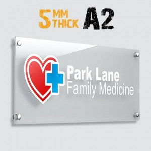 A2 Large Acrylic Panel 5mm with 4 Standoffs