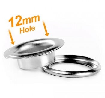 12mm Banner Eyelets Chrome Pack 500