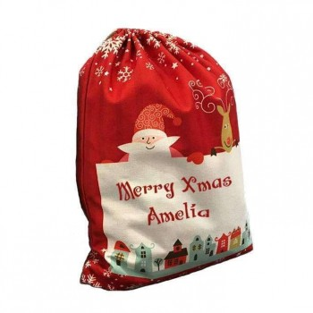 Christmas drawstring Sack - Pre-Printed 50 x 66cm - Red