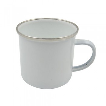 12oz Enamel White Mug and Silver Trim