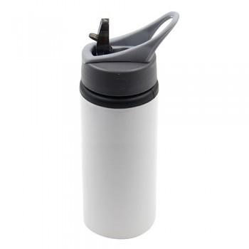 600ml White Aluminium Bottle with Straw